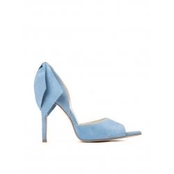 Stiletto bleu din piele naturala cu funde Ginissima