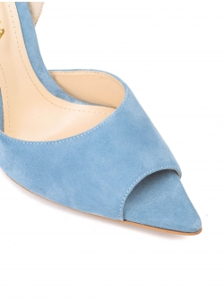 Blue stiletto shoes with back bow Ginissima