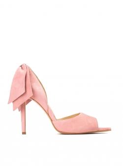 Stiletto roz pal din piele naturala cu funde Ginissima