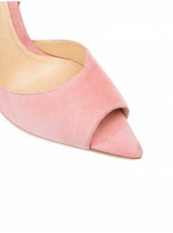 Baby pink stiletto shoes with back bow Ginissima