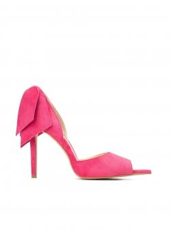 Stiletto roz din piele naturala cu funde Ginissima