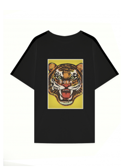 Black cotton tshirt with front print MySimplicated