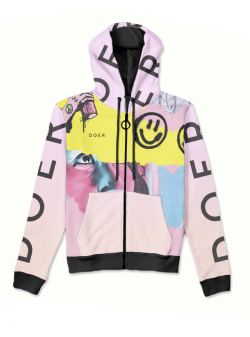 Pink hoodie with zip and print MySimplicated