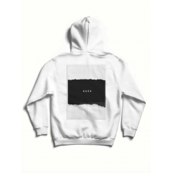 White cotton hoodie with back print MySimplicated