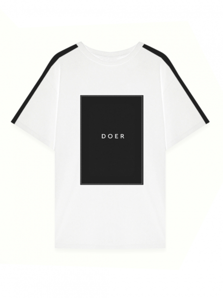 White oversized cotton tshirt with print MySimplicated