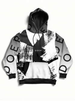 Black and white oversized printed hoodie MySimplicated