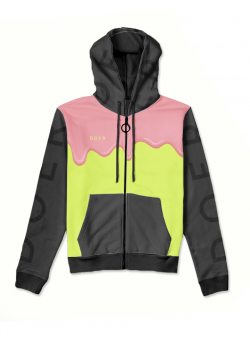 Pink hoodie with zip and multicolor print MySimplicated