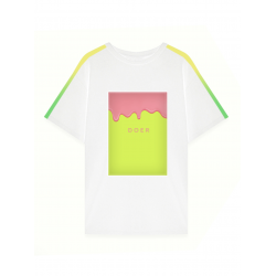 White oversized tshirt with multicolor print applique MySimplicated