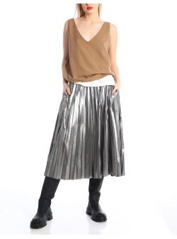 Silver pleated skirt Silvia Serban