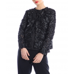 Black jacket with 3D applique Silvia Serban