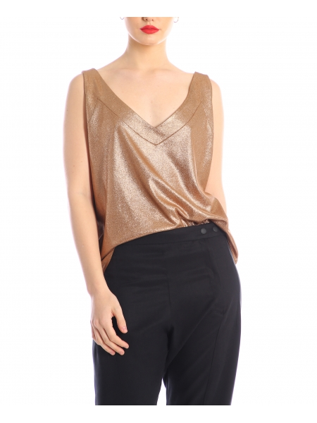 Brown metallic top Silvia Serban