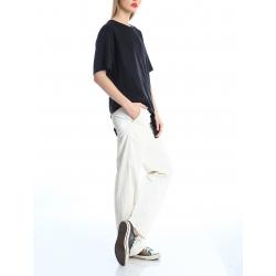 Pantaloni albi din viscosa Silvia Serban