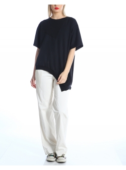 Tricou negru asimetric Silvia Serban
