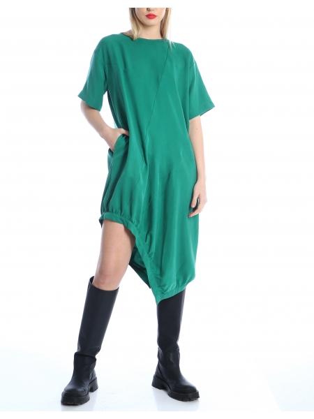 Rochie verde asimetrica din tencel Silvia Serban