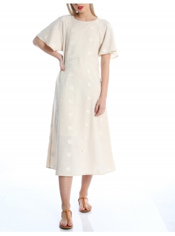 Beige dress with embroidery Silvia Serban