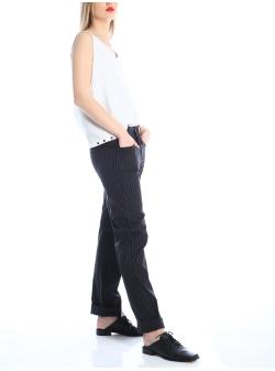 Pantaloni in dungi cu croi lejer Silvia Serban