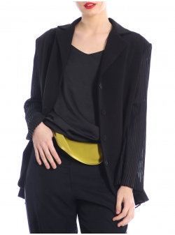 Black jacket with pleated details Silvia Serban