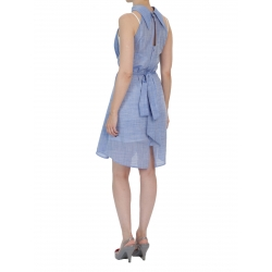 Blue Midi Dress With Waistband