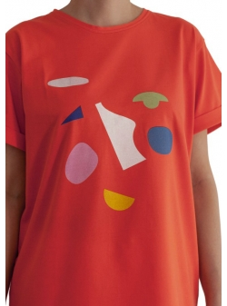 Red oversized cotton t-shirt Ola Daring Trash