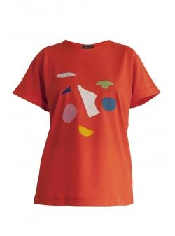 Tricou rosu supradimensionat Ola Daring Trash