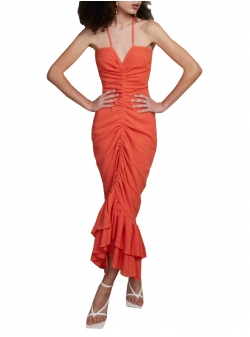 Coral dress with frills Solita Concepto