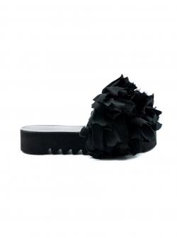 Papuci din piele naturala cu aplicatii textile Slit Slides Meekee