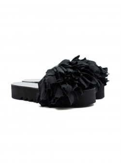 Black leather slides Slit Meekee