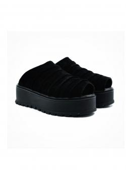 Papuci negri din piele intoarsa cu platforma Roll Meekee