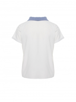 White short sleeves top with contrasting collar Larisa Dragna