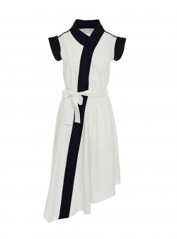 White cotton dress with contrasting details Larisa Dragna