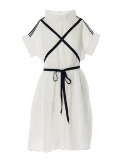 White loose dress with strings Larisa Dragna