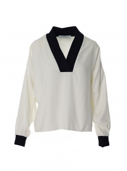 White viscose blouse with contrasting panels Larisa Dragna