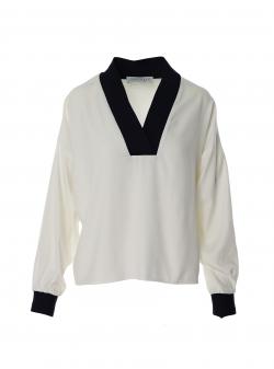 Bluza alba din viscosa cu detalii contrastante Larisa Dragna