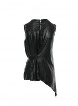 Black sleeveless top with creases Larisa Dragna