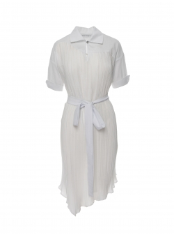 White pleated dress Larisa Dragna