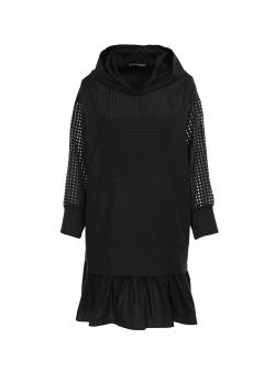 Black hoodie dress with perforated sleeves Larisa Dragna