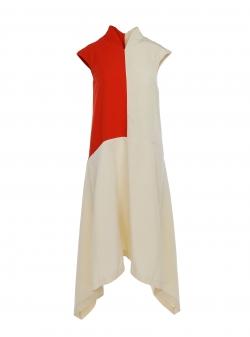 Geometric shape viscose dress Larisa Dragna