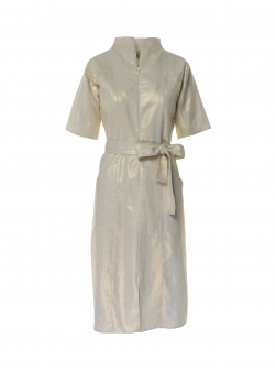 Beige coated linen dress Larisa Dragna