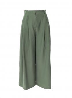 Pantaloni midi kaki din viscosa Larisa Dragna