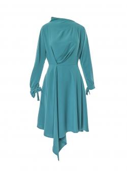 Turquiose dress with asymmetric finish Larisa Dragna