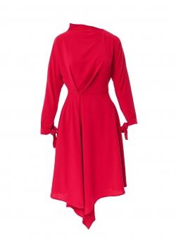 Fuchsia dress with asymmetric finish Larisa Dragna