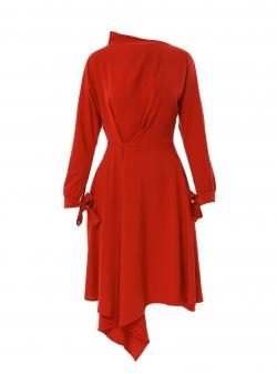 Red dress with asymmetric finish Larisa Dragna