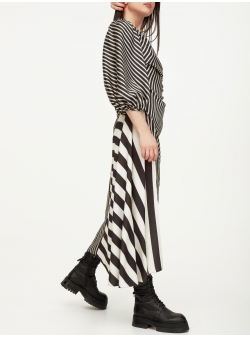 Maxi striped dress with one sleeve Spice Parlor