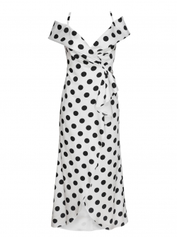 White maxi dress with polka dots Love Parlor