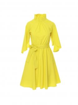 Yellow midi cotton dress Larisa Dragna