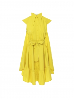 Yellow midi dress with oversized collar Larisa Dragna