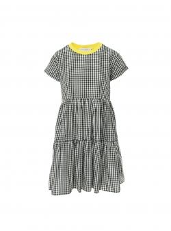 Gingham short sleeves ruffled dress Larisa Dragna