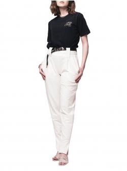 Tricou negru din bumbac cu broderie Self Love Andrea Szanto