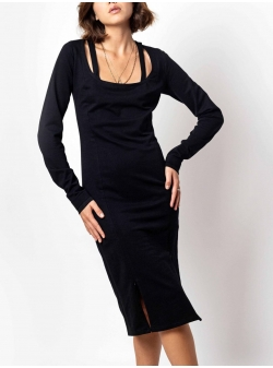 Black midi dress with cuts Fantasy Andrea Szanto
