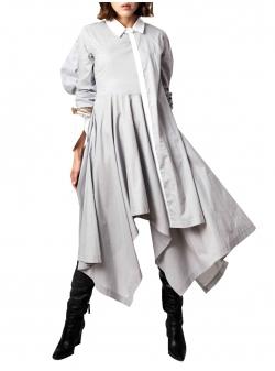 Grey asymmetric cotton dress Fantasy Andrea Szanto
